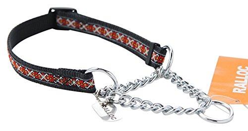 【小型犬用しつけ首輪】アミット しつけに便利おしゃれなハーフチェーンカラー 02 Sサイズ 色:108 フォークロア