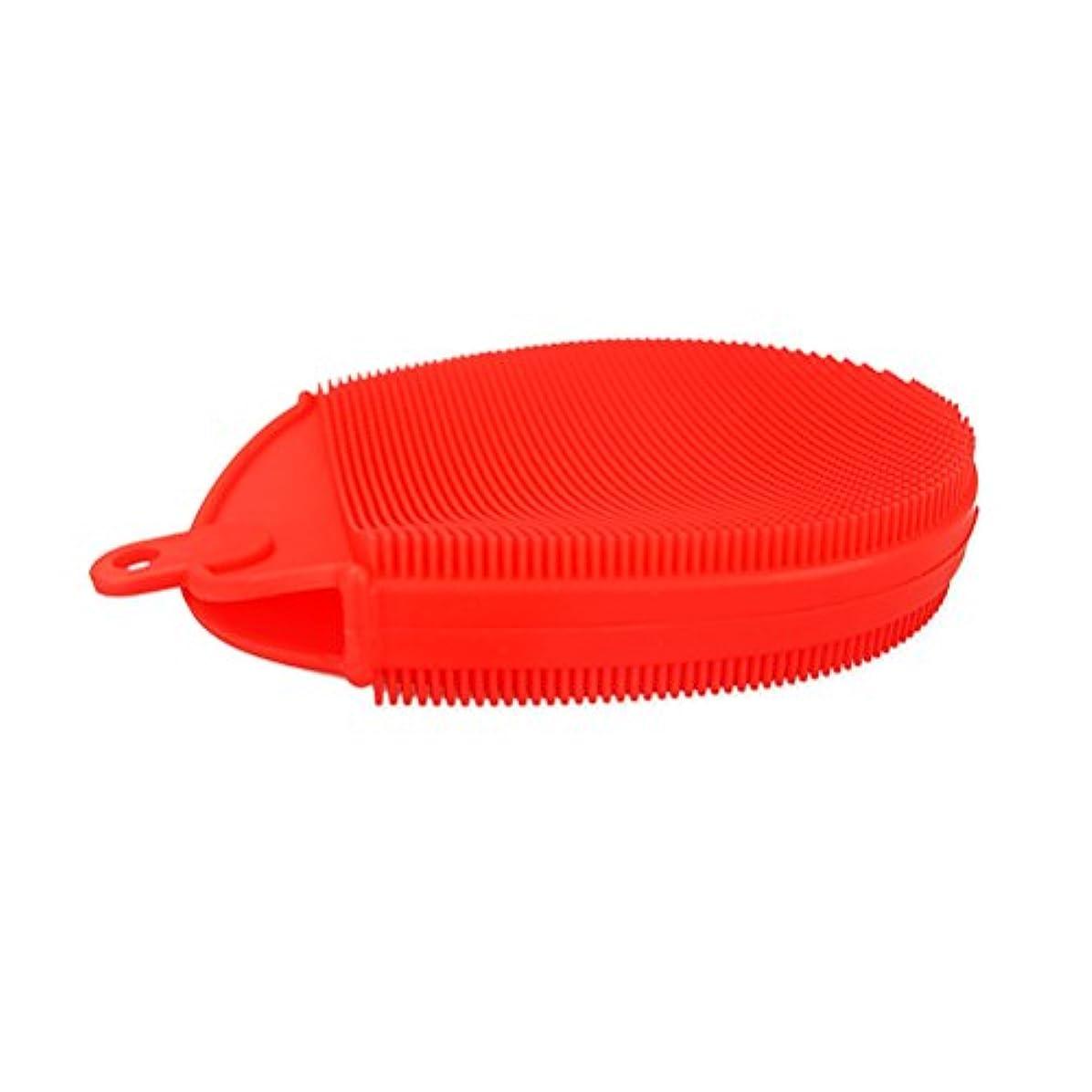 現れる巨大不十分OUNONA ボディブラシ シリコン製 角質除去 体マッサージ お風呂体ブラシ(赤)