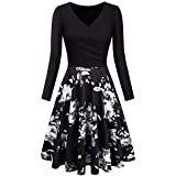 LONGYING Women's Casual Floral Patchwork Vintage V-Neck Long Sleeves Elegant Flared Midi Dress Party Swing Dress