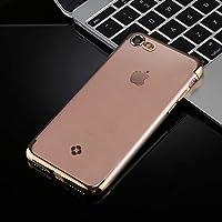 IPhone 8&7 Plating + TPU透明ソフト保護バックカバーケース(グレー)の新機能 Xiecd (Color : Gold)