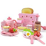 Kids Wooden Kitchen Play Tea Set Pretend Play Kids Childrens Cake Toaster Toy