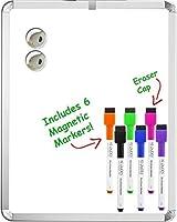 """マグネット ホワイトボード 11インチ×14インチ。Board DudesのSRXマグネット ホワイトボード用マーカー付き、6本、各種カラー。 11"""" x 14"""""""