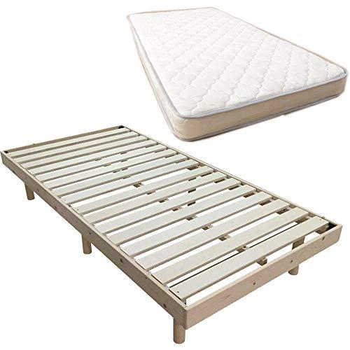 【ベッド・マットレスセット】アイリスプラザ ポケットコイルマットレス シングル 高密度 コイル数465個 + 3段階高さ調節 すのこベッド シングル ナチュラル DBL-Z001