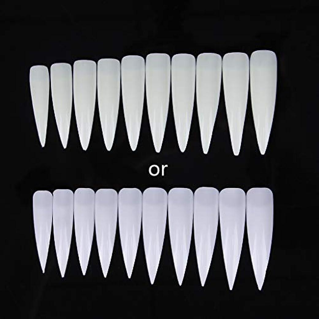 合唱団食べる大気ジャッキーショートサロンポインター-磁器ホワイト10個入りロングシャープフォールスネイルアートのヒントアクリルサロン-ホワイトクリアナチュラル