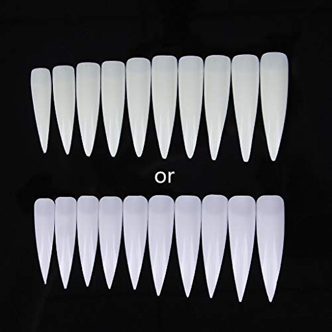 ジャッキーショートサロンポインター-磁器ホワイト10個入りロングシャープフォールスネイルアートのヒントアクリルサロン-ホワイトクリアナチュラル