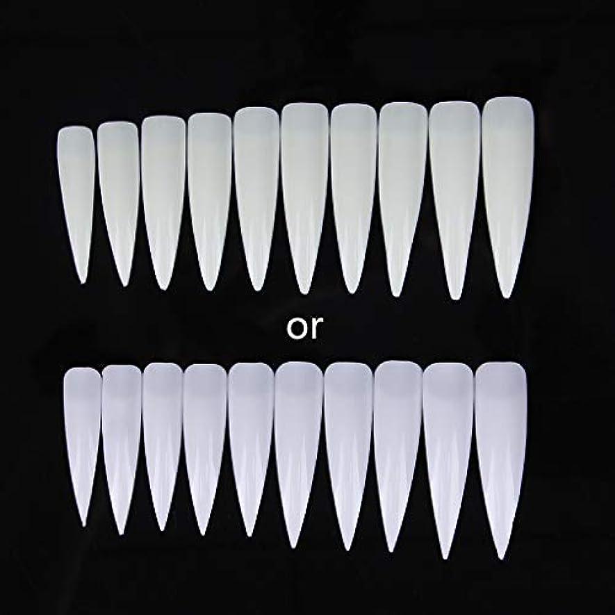 下るぼかし一次ジャッキーショートサロンポインター-磁器ホワイト10個入りロングシャープフォールスネイルアートのヒントアクリルサロン-ホワイトクリアナチュラル