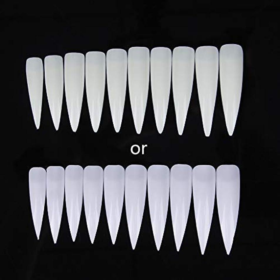 脅迫原告移植ジャッキーショートサロンポインター-磁器ホワイト10個入りロングシャープフォールスネイルアートのヒントアクリルサロン-ホワイトクリアナチュラル