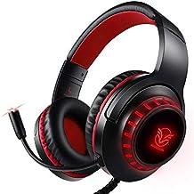 【2020新登場】Pacrate PS4 ゲーミングヘッドセット ノイズキャンセリング ゲーム用ヘッドホンLEDマイク付き 高音質 重低音強化 伸縮可能 軽量クリスタル ステレオ サウンド コンピューターとラップトップとMacとPC用 赤