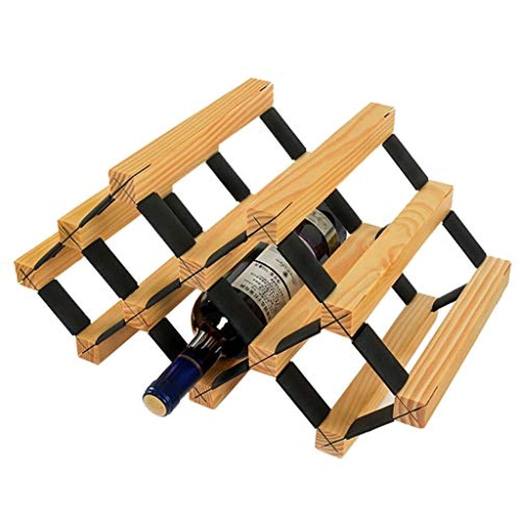敬の念値ファックスワインラック自立型木製および金属鋼製天然木キャビネット木製テーブル食器棚収納装飾ワイン棚レトロデザインワインボトルオーガナイザー(色:ウッドカラー)