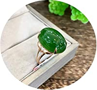 新しい本物の18Kゴールド中国の緑の翡翠の女性のリング