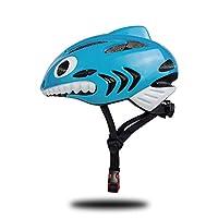 HYH ワンピースサメ子供用スポーツヘルメット自転車ローラースケートバランスカーライディングヘルメット いい人生 (Color : Blue)