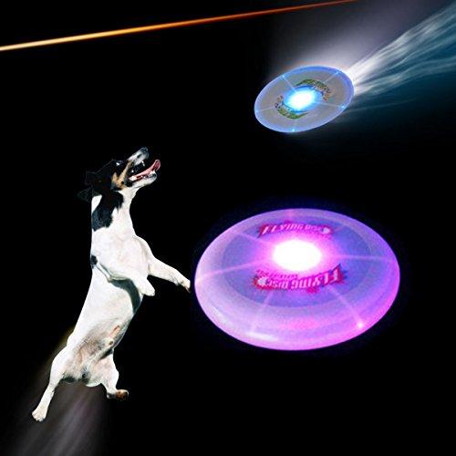 2個 犬用フリスビー ドッグディスク 光るおもちゃ 歯ケア投げる 追いかけて楽しい しつけも出来る丈夫な犬おもちゃ 発光知育玩具 (25cm)