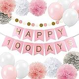 誕生日飾り付け 100日お祝い飾り 女の子 HAPPY 100DAYSバナー ガーランド ペーパーフラワーボール ラテックスバルーン 写真背景 ピンク