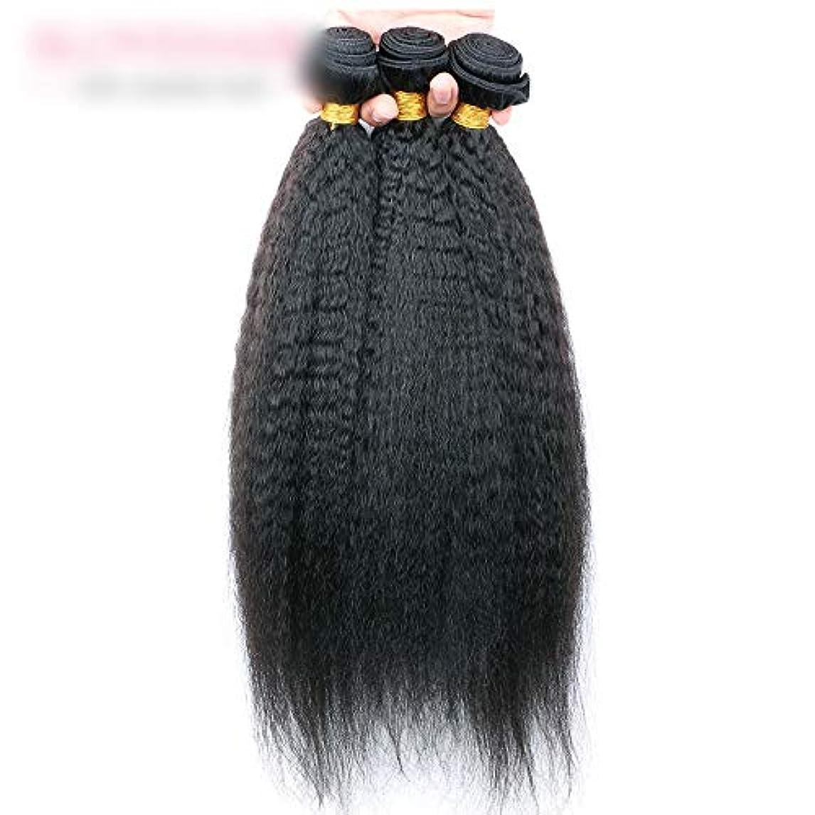 終了しましたに賛成思い出させるWASAIO 閉鎖ボディ未処理の拡張ナチュラルブラックに着色されたニート人間の髪織り (色 : 黒, サイズ : 14 inch)
