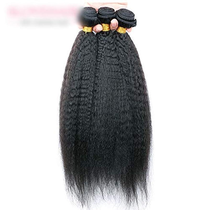 アーティキュレーションキッチン事前WASAIO 閉鎖ボディ未処理の拡張ナチュラルブラックに着色されたニート人間の髪織り (色 : 黒, サイズ : 14 inch)