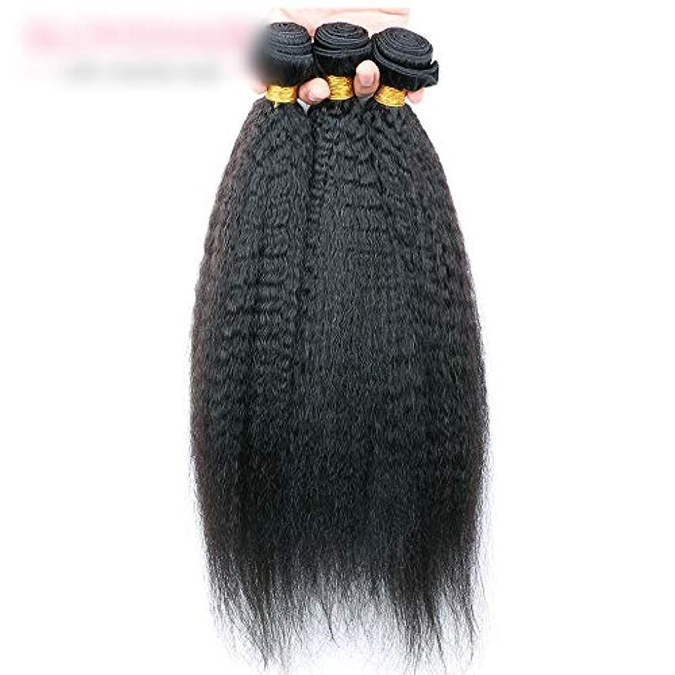 壊滅的なパーチナシティ締め切りWASAIO 閉鎖ボディ未処理の拡張ナチュラルブラックに着色されたニート人間の髪織り (色 : 黒, サイズ : 14 inch)