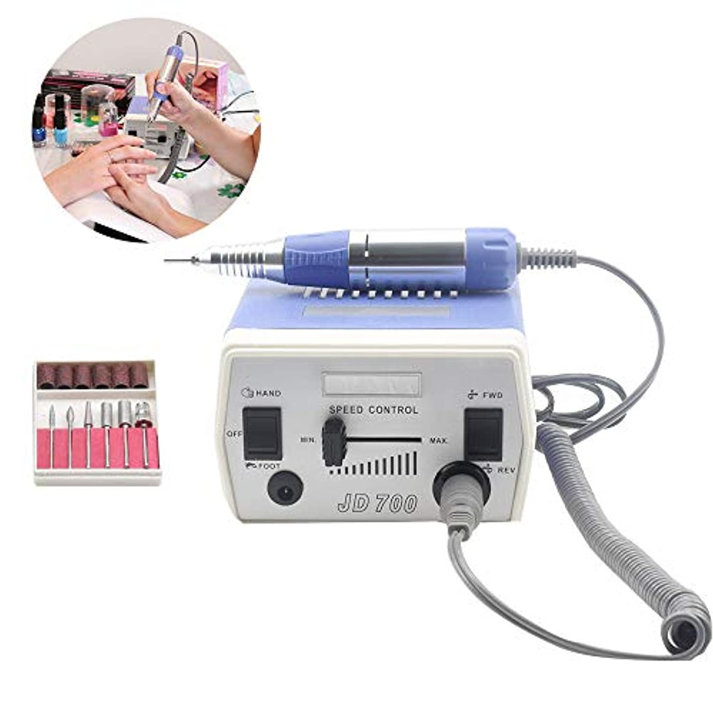 電気釘ドリルペダルスイッチ制御の釘の機械マニキュアのアクリルの低熱の低雑音の低振動の専門の釘機械