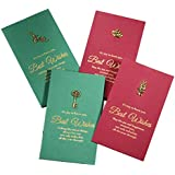 4 Sets of Christmas Card Holiday Greetings Cards Blessing Festival Cards DIY Mother's Day Wish Cards(Green+Red)