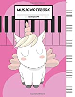 "Music Notebook Wide Staff: Soft Pink Unicorn Big Heart,Piano Keyboard/Blank Music Sheet Notebook,Big Staff Paper,Music Manuscript Paper,6 Large Staves per page,8.5""x11"",100 Pages,For Boys,Girls, Kids, Beginners."