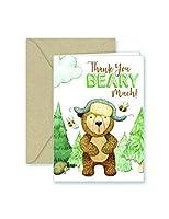 用紙Frenzy Bear Thank You Noteカード&封筒クラフト–25パック