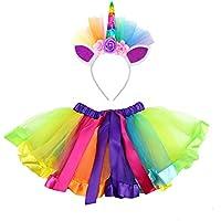 PRETYZOOM Girls Tutu Skirts Set with Unicorn Headband Rainbow Princess Girl Tutu Outfit for 0-3 Years Old Girls Unicorn Birthday Outfit Set Size S