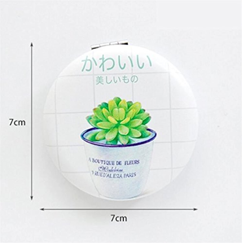 HuaQingPiJu-JP ミニラウンド漫画の水差しのパターン小さなガラスミラーサークル工芸デコレーションの化粧品アクセサリー