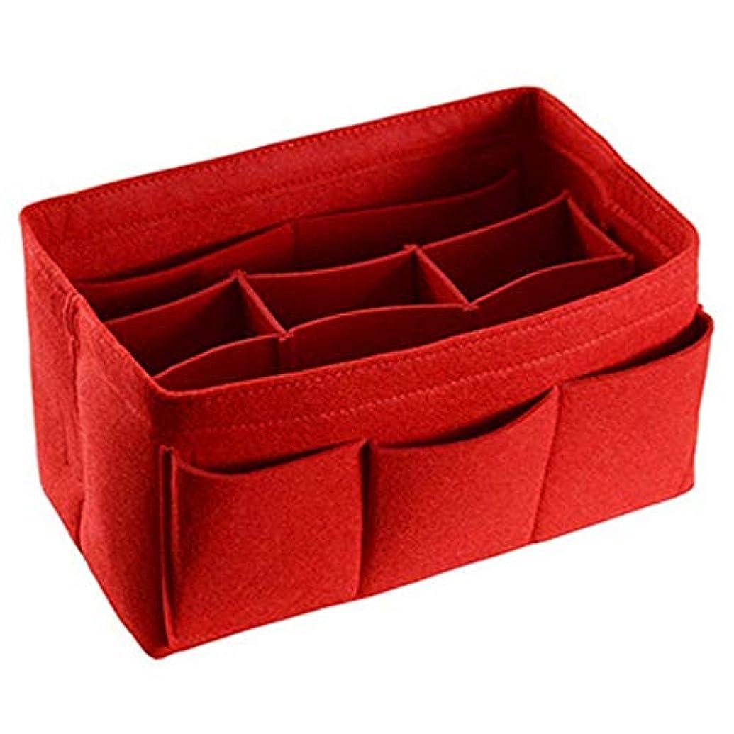 助言無許可記念碑的なCUHAWUDBA フェルト収納袋 化粧品 ホーム小物用品オーガナイザー 折りたたみ収納ボックス 赤色