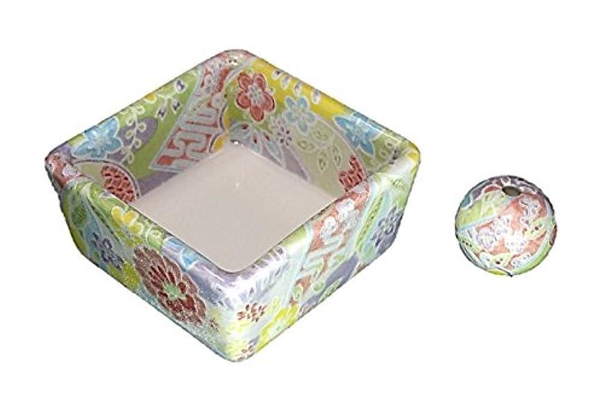 ドリル証拠日付付き和モダン 華舞 お香立て 陶器 角鉢 製造直売品