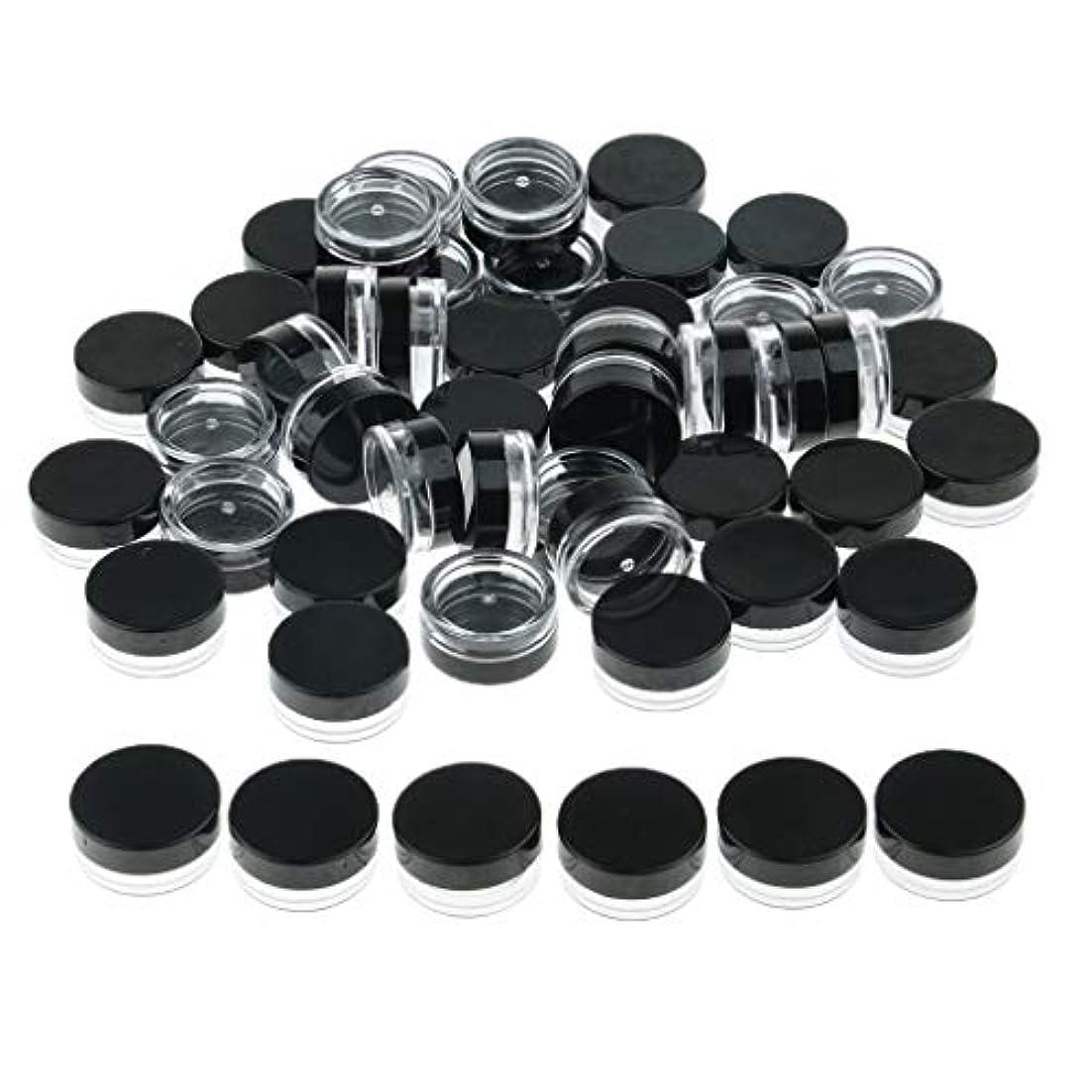 サリープラットフォーム引き出すP Prettyia クリームジャー クリームケース 化粧品 小分け 詰替え 容器 約50個 - ブラック