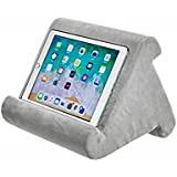Tablet Pillow Stand - AUMA Multi-Angle Soft Pillow Holder for iPads, Tablets, eReaders, Smartphones, Books, Magazines on Bed, Knee, Desk, Sofa, Floor- Grey