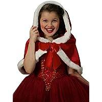 AMIGGOO クリスマス ワンピース マント 2点セット ガールズ フォマール ドレス 演劇服装 サンタクローズ クリスマスパーティ フレア スカート コスチューム プレゼント レッド 110-150cm