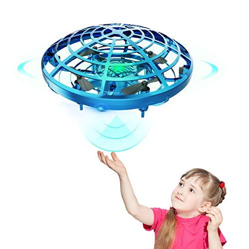 DEERC ドローン こども向け おもちゃ ラジコン ヘリコプター ミニドローン ジェスチャー制御 室内 ハンドコントロール 五つのセンサーが搭載 360度回転 自動回避障害機能 自動ホバリング 2段階スピード調整 LEDライト付き プレゼント 贈り物 (青)
