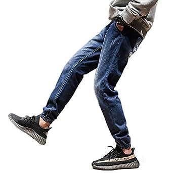 [AtMarvelous] デニム イージー ジョガー パンツ 【 ジョガーパンツ 】裾絞り ジーンズ リラックス トレンドスタイル (ブルー, M)