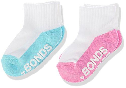 Bonds Baby Logo Quarter Crew Socks (2 Pack), Assorted Girls, 00-1 (0-6 Months)