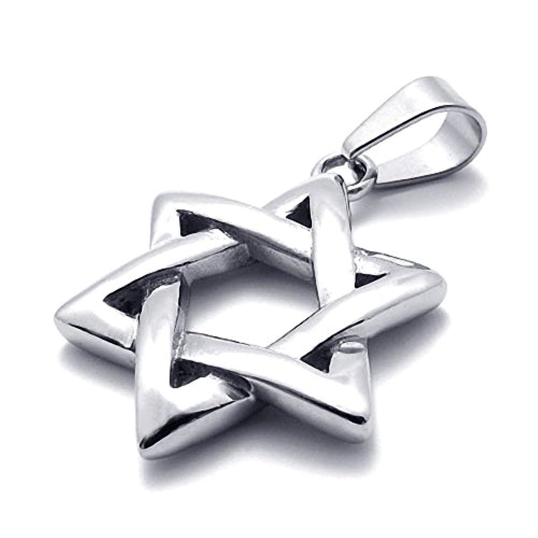 MFYS Jewelry ファッション メンズ レディース ダビデの星 スター 六芒星 カラー:シルバー(銀) ステンレス ネックレス (チェーン付 ペンダントトップ) [ギフトボックスを提供]