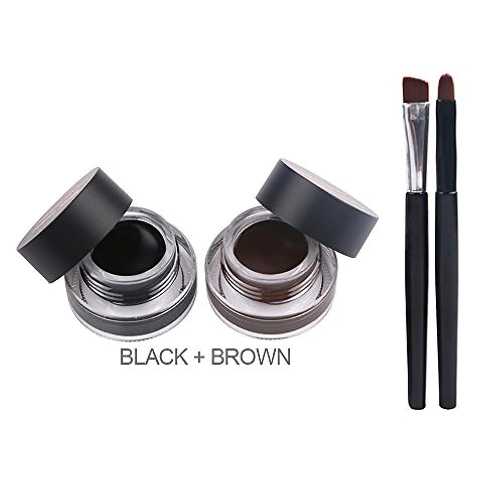 ブル成分奇跡的なFexport 防水 汚れに耐える ロングウェア ジェルアイライナーゲル 2ブラシアイメイク付く ブラック+ブラウン