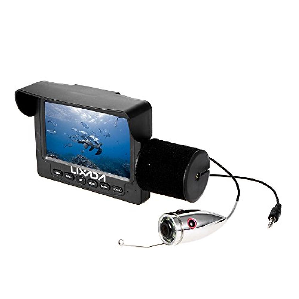 インサート広告する不安定Lixada 1000TVL 4.3インチ液晶モニター魚水中LEDナイトビジョンカメラ165°広角15M海釣りケーブル