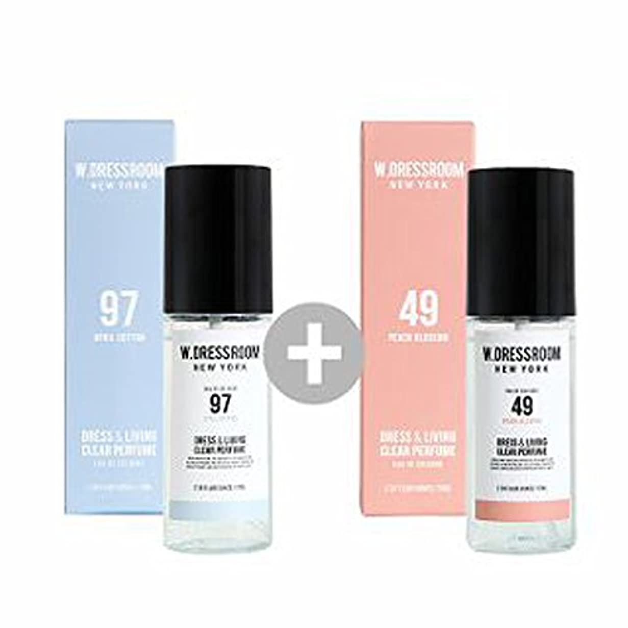 再びはがき高価なW.DRESSROOM Dress & Living Clear Perfume 70ml(No 97 April Cotton)+(No 49 Peach Blossom)