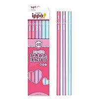 かきかたえんぴつ(六角・女の子)4B ポップ体風 音符 彫刻 KB-KPW04-4B トンボ鉛筆 ippo! 名入れ無料 名入れ えんぴつ 鉛筆