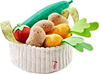 Haba 304230 Vegetable Basket for Shopping Shop and Children's Kitchen, Basket with Cucumber, Tomato, Carrots and Potatoes Made of Fabric, Toys from .