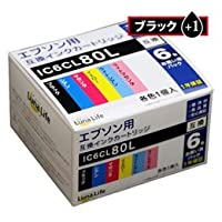 【まとめ 4セット】 ワールドビジネスサプライ Luna Life エプソン用 互換インクカートリッジ IC6CL80L ブラック1本おまけ付き 7本パック LN EP80/6P BK+1