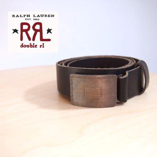 (ラルフローレンダブルアールエル) ralph lauren RRL シルバープレート バックル レザーベルト/BLACK W32 [並行輸入品]
