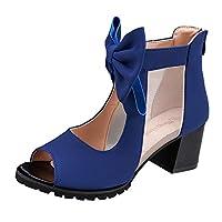 [LILHAA] 女性の弓メッシュメッシュサンダルシングルシューズ黒と魚の口の正方形美脚 フロント ブルー