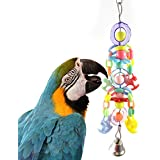 Sanwooden Funny Parrot Hanging Toy Colorful Bird Pet Parrot Flower Horse with Bell Swing Stand Hanging Toys Gift Pet Supplies