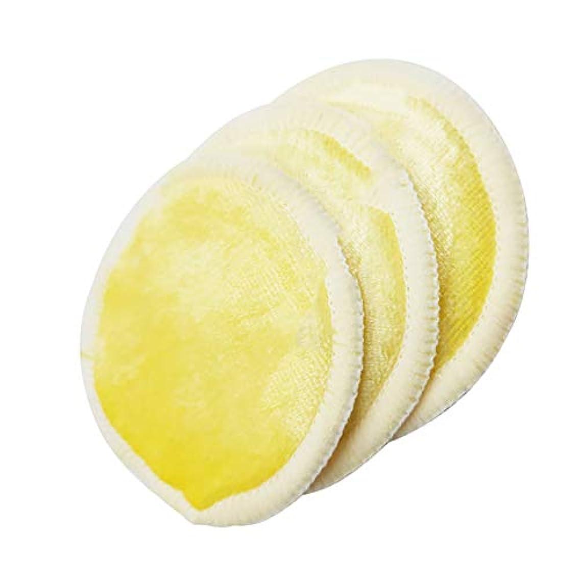 すでに触覚意図的竹繊維の綿を洗い流し、綿の再利用可能なスーパーソフト肌3セット(黄色)
