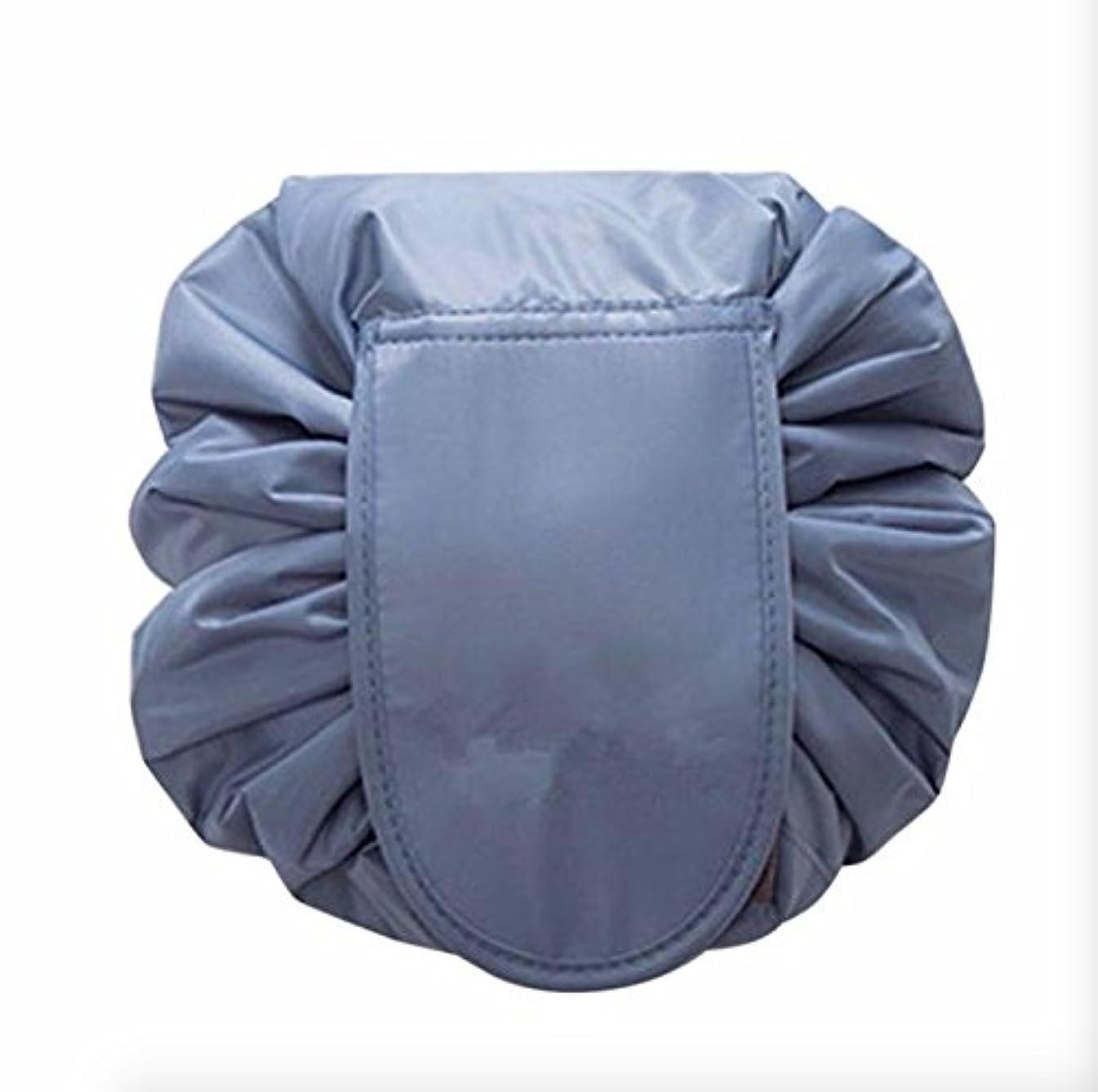 尋ねる伝統的データベース大容量 防水化粧品収納バッグ 折り畳み 外泊 出張 持ち運び旅行収納 (ブルー)