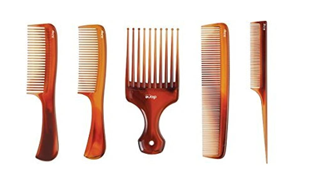 MayaBeauty (5-pack) Tortoise Comb Kit (Includes: Lift Comb/Pik, Large Shampoo Comb,Small Shampoo Comb, Dressing...