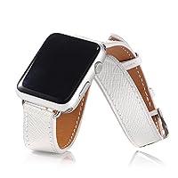 【万屋】Apple Watch バンド 全9色 Apple Watch Series 3 / Series 2 / Series 1 に向け人気バンド 38mm & 42mm 対応 イギリス高級レザーバンド レディー人気手作りのカーフレザー製バンド (Apple Watch 38mm, ホワイト)