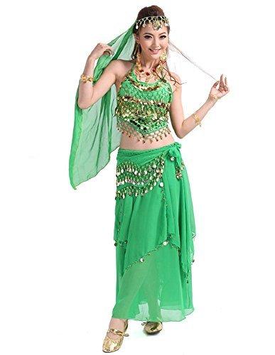 ベリーダンス 衣装 6点セット 超本格派 プロ仕様 ! ブラトップ ヒップスカーフ ヒップスカート ベール リストバンド (緑色)