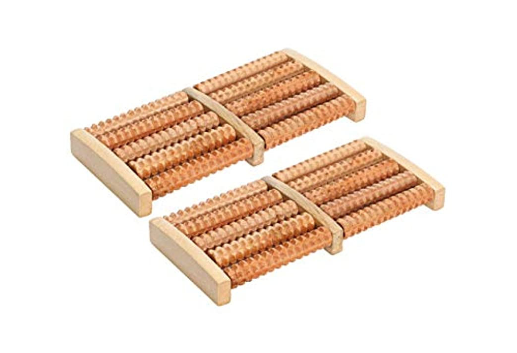 モンキー変位記念日ほうねん堂 足つぼ ローラー 木製 足裏 マッサージ ツボ押し 健康器具 2個 セット